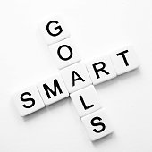 Words smart and goals in crossword style in black lettering on white tiles