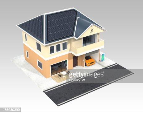 Smart House Design With Solar Panels Stock Photo | Thinkstock