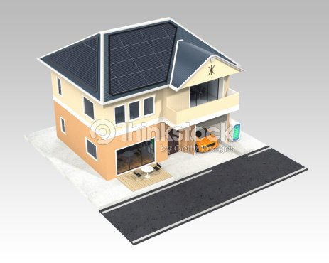 Smart House Design With Solar Panels Stock Photo Thinkstock