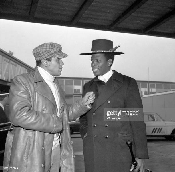 Smart line in headgear for actors who both trained at the American Negro Theatre in Harlem seen on arrival from New York Sidney Poitier is here to...