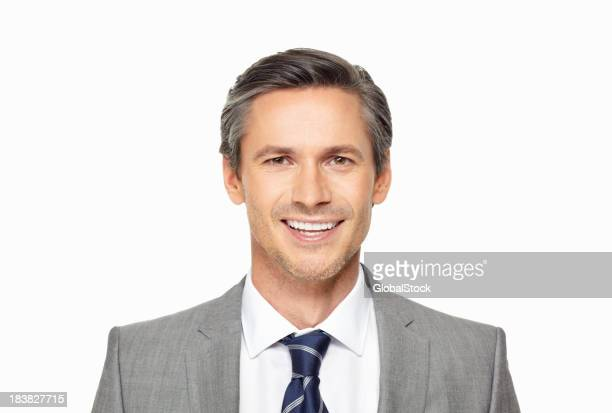 Smart mature business man against white background