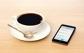 Smart Phone and Coffe Cup