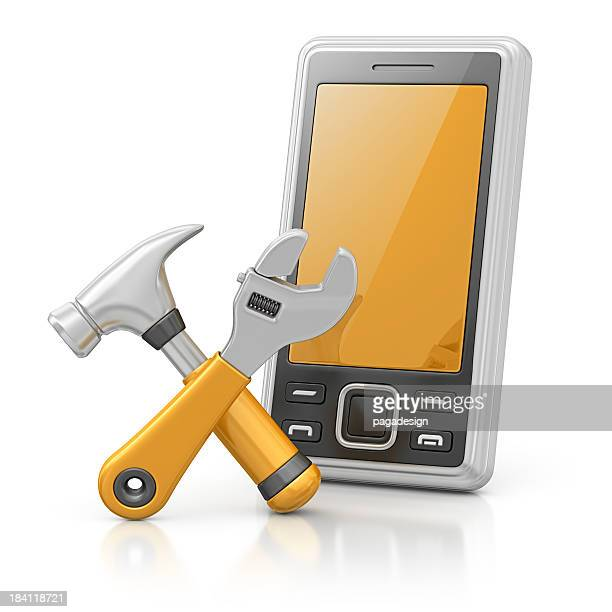 smart phone and hammer with adjustable wrench