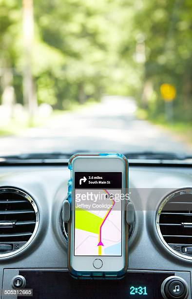 Smart Phone in Car With Directions