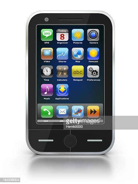 Téléphone intelligent-isolé sur blanc avec un Tracé de détourage