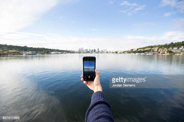POV of smart phone taking a picture.