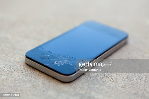 A smart phone with a cracked screen