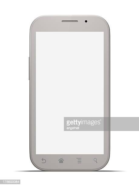 Smart phone with blank screen isolated on white