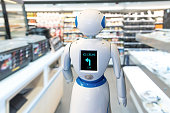 Smart retail , robot assistant service , robo advisor navigation technology in department store. Robot walk lead to guide customer to find items.