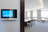 smart screen on wall in modern office