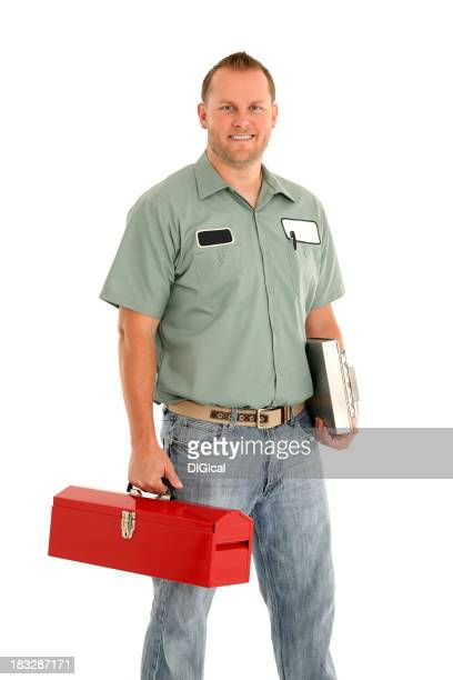 A smart service man with his red tool box