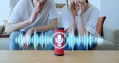 Smart speaker concept. AI speaker. Voice recognition.
