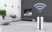 Smart speaker on the table in the living room, 3D