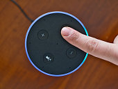 Smart speaker top view artificial intelligence assistant voice control blue ring finger