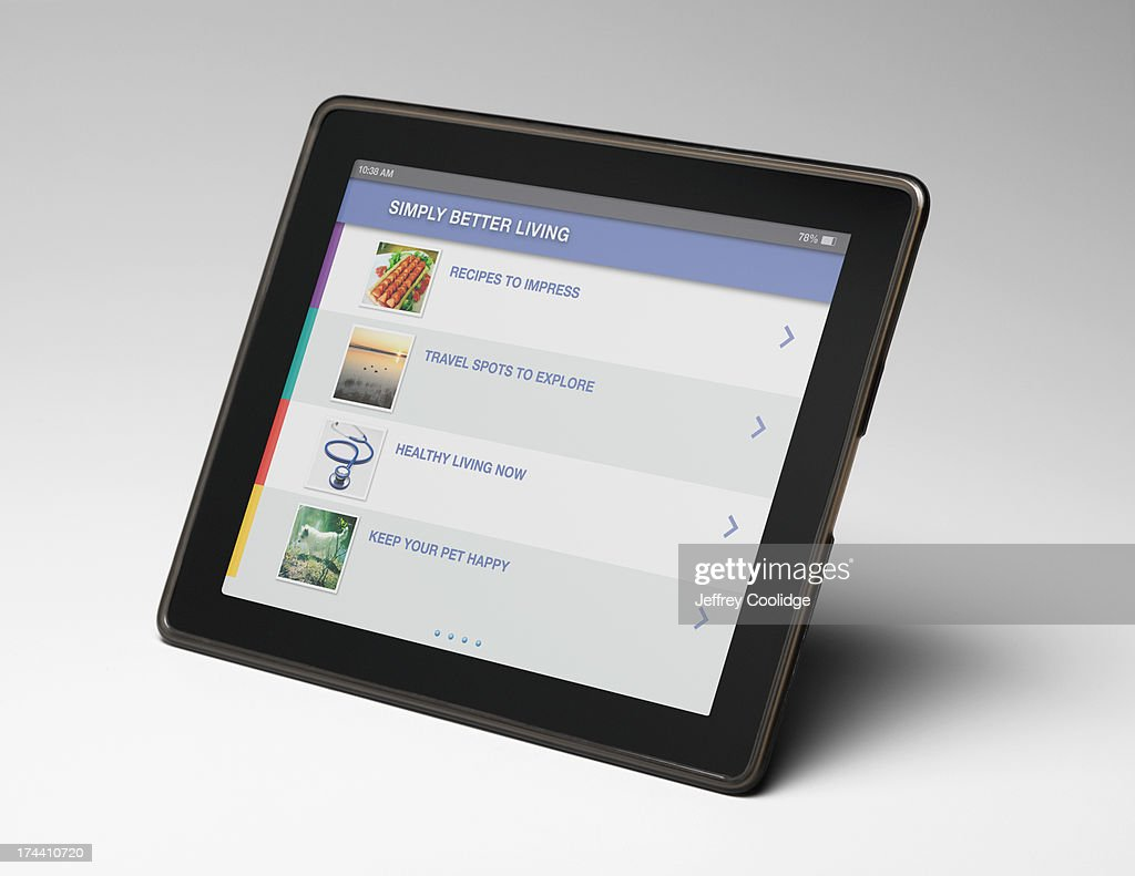 Smart Tablet on Gray : Stock Photo
