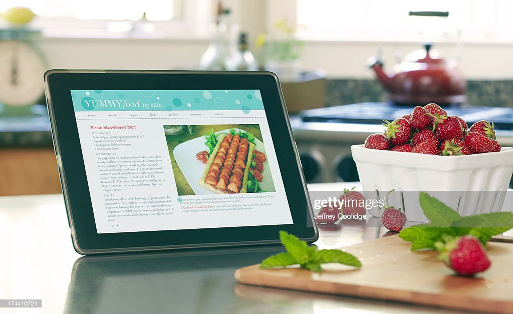 Smart Tablet With Recipe : Stock Photo