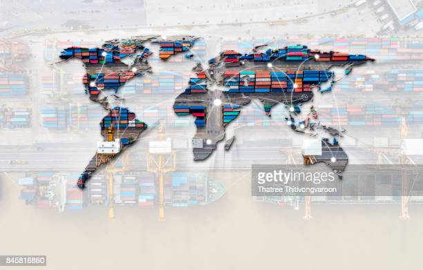 Smart technology concept with global logistics partnership Industrial Container Cargo freight ship, internet of things Concept of fast or instant shipping, Online goods orders worldwide