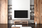 Smart Tv Mockup hanging on the wall in living room with shelves . 3d rendering