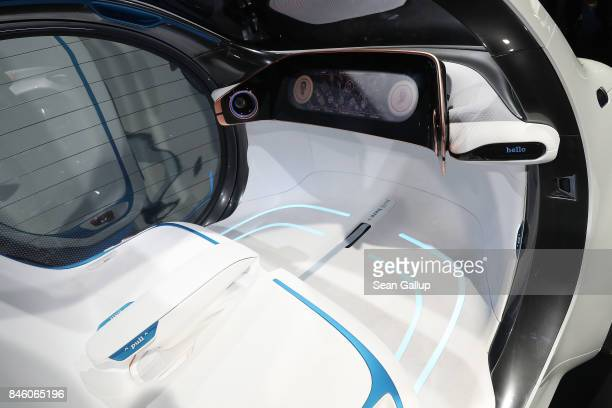Smart Vision EQ Fortwo autonomous electric concept car stands on display at the 2017 Frankfurt Auto Show on September 12 2017 in Frankfurt am Main...