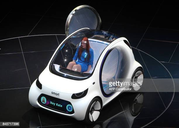 A smart vision EQ fortwo concept car of the Daimler AG group is displayed during a preview night for the media on the eve of the opening of the...