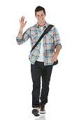 Smart young man waving his hand