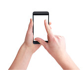 Holding big touch screen smart phone, right hand zooming on touchscreen using fingers, isolated on white, clipping path
