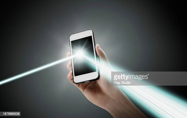 A smartphone and a reflection of the light