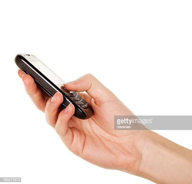 スマートフォンを手で雄