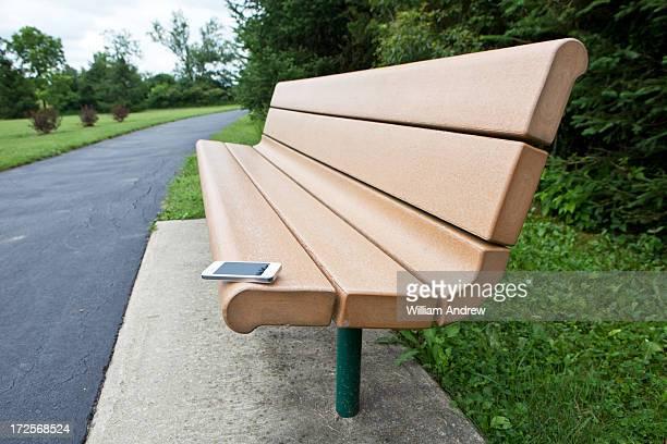 Smartphone left on park bench