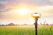 Smartphone on tripod record timelapse in the sunset nature background
