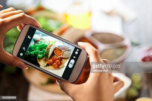 smartphone Aufnahme Speisen und Foto