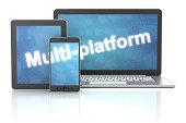 Smartphone, tablet and laptop with multi-platform word, 3d render