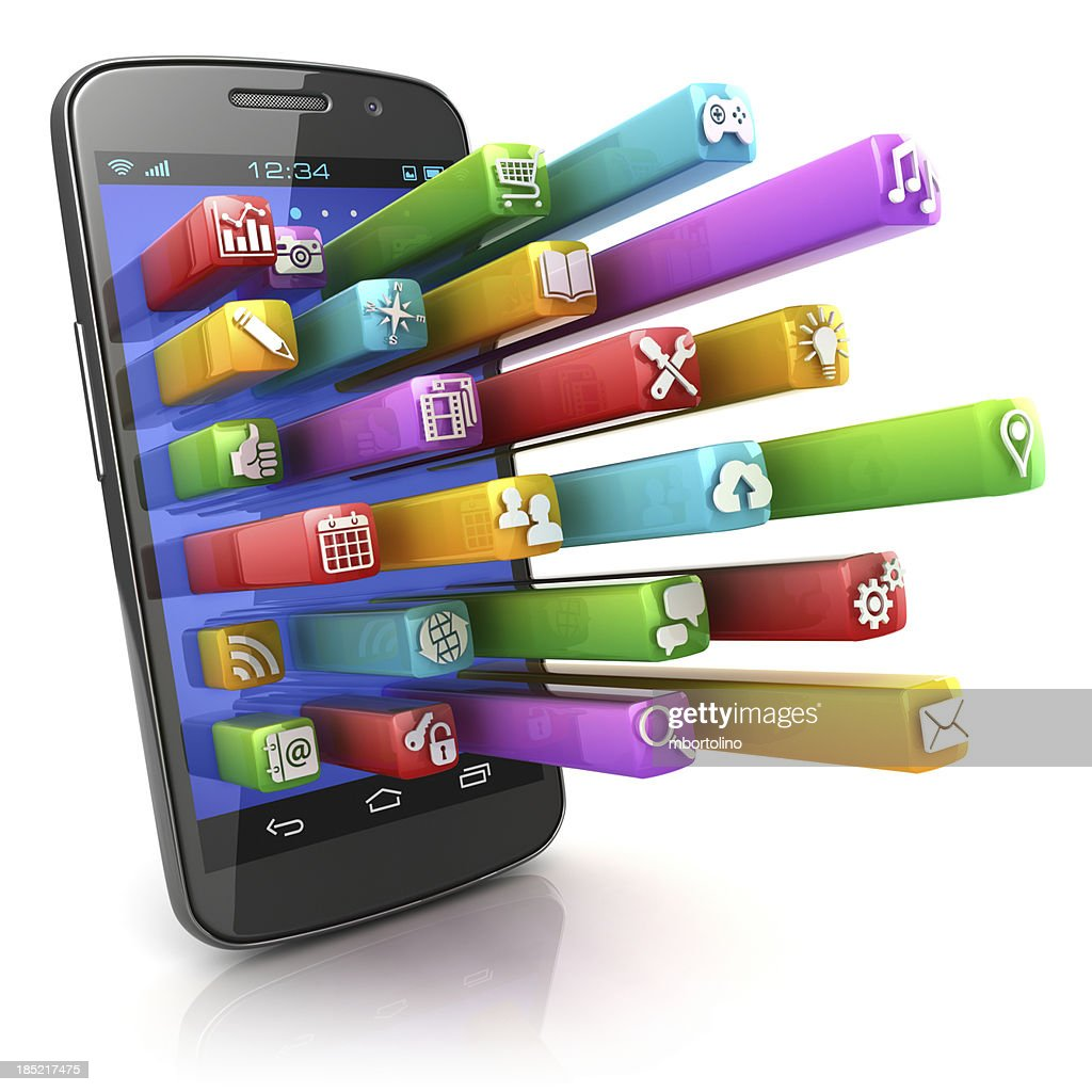 Smartphone with 3d app icons
