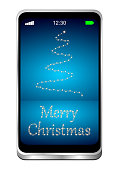 smartphone with merry christmas on glossy blue desktop - 3D illustration