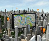 smartphone with navigator over city