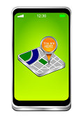 smartphone with orange you are here map pointer on green desktop - 3D illustration