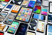 3d rendering of a group of devices (smartphones and tablets)