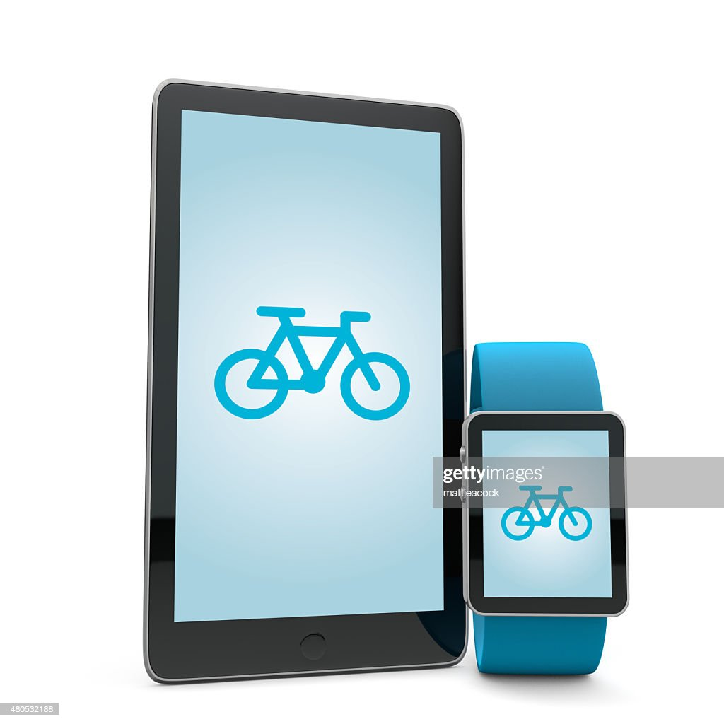 Smartwatch and phone cycling app : Stock Photo
