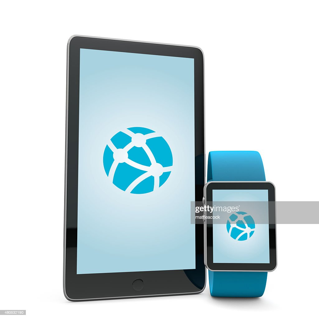 Smartwatch and phone network : Stockfoto