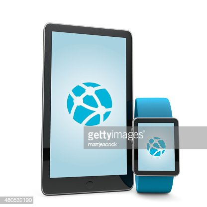 Smartwatch and phone network : Stock Photo