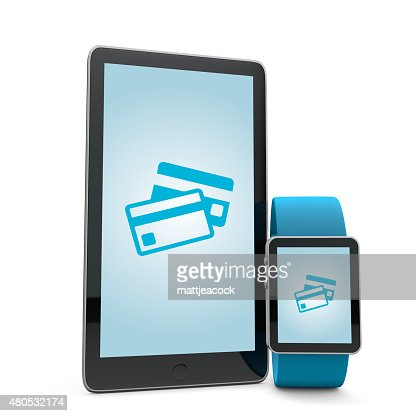 Smartwatch and phone payment : Stock Photo