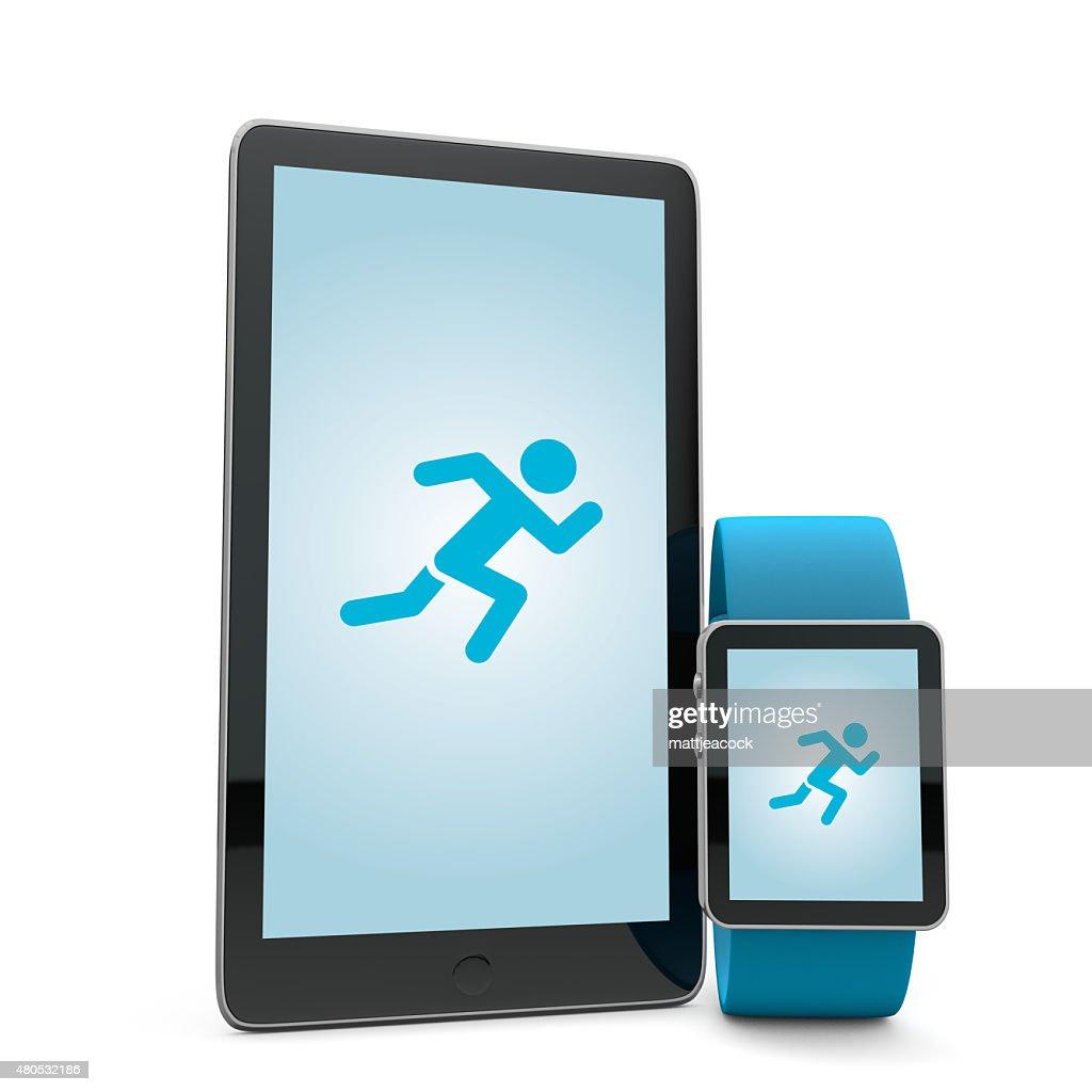 Smartwatch and phone running app : Stockfoto