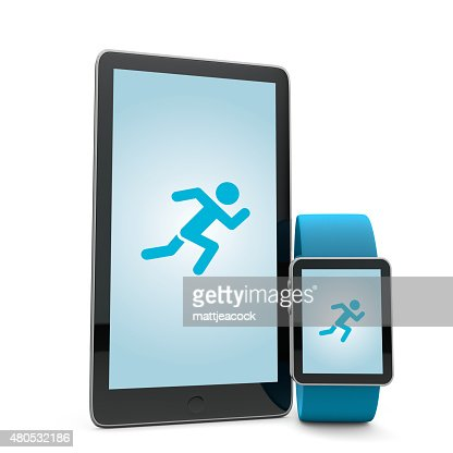 Smartwatch and phone running app : Stock Photo