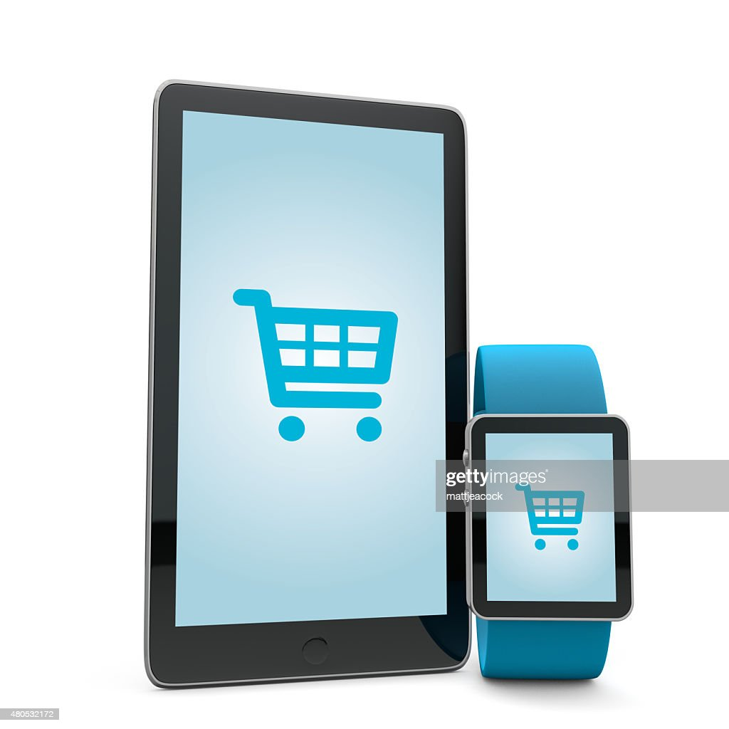 Smartwatch and phone shopping : Stockfoto