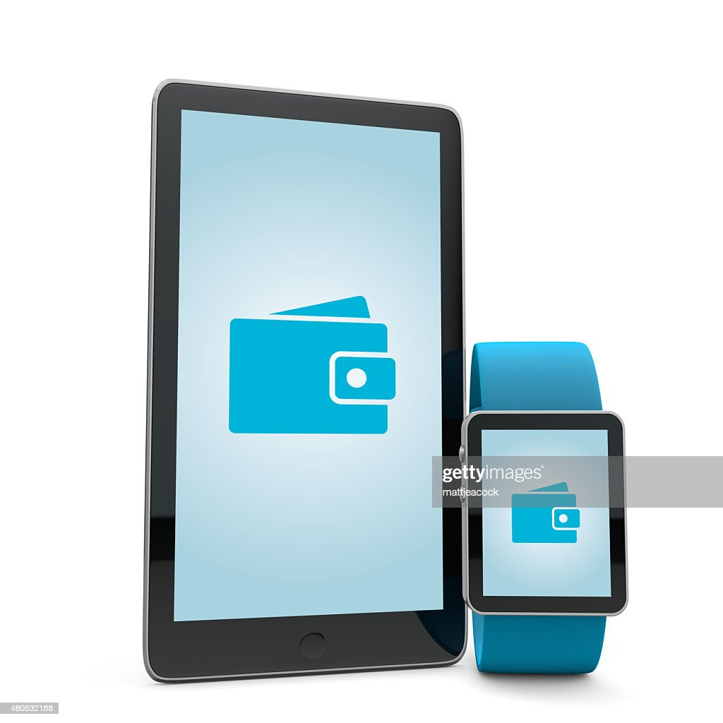 Smartwatch and phone wallet : Stock Photo