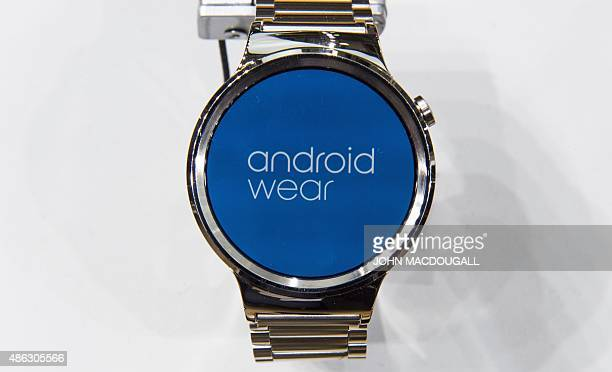 A smartwatch featuring Android Wear is on display at the booth of Chinese electronics giant Huawei ahead of the opening of the 55th IFA electronics...