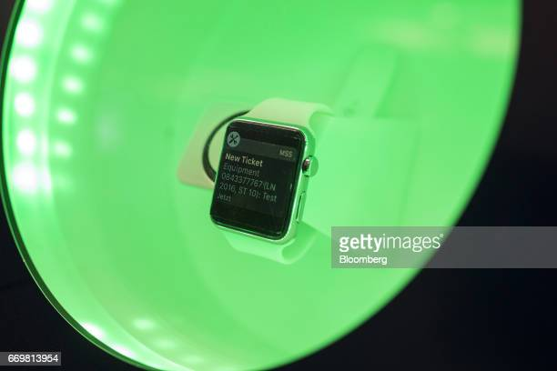 A smartwatch sits in a connected industry 40 display at the Robert Bosch GmbH digital factory in Stuttgart Germany on Tuesday April 18 2017 The...