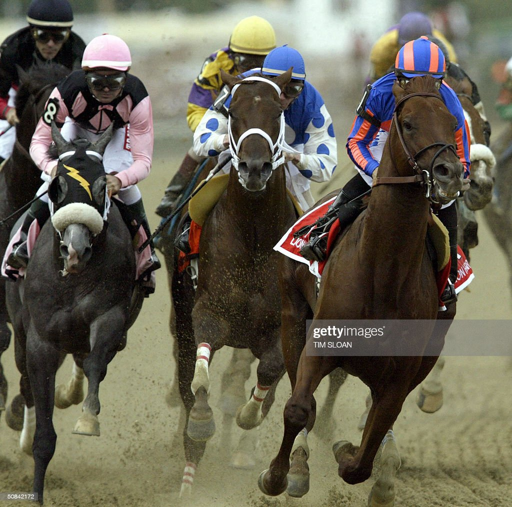 Smarty Jones with jockey Stewart Elliot aboard goes into the first turn en route to victory in the 129th running of the Preakness Stakes at Pimlico...