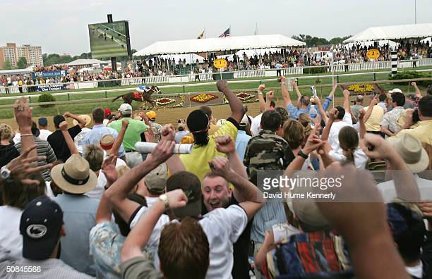 Smarty Jones with Stewart Elliott aboard races for the finish line at the Preakness May 15 2004 in Baltimore Maryland Smarty Jones who won the...