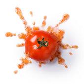 crushed or splattered tomato isolated on white background